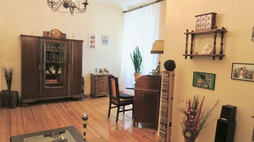 Living room with original wooden floor