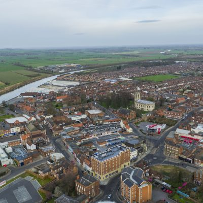 Aerial view of Gainsborough town centre
