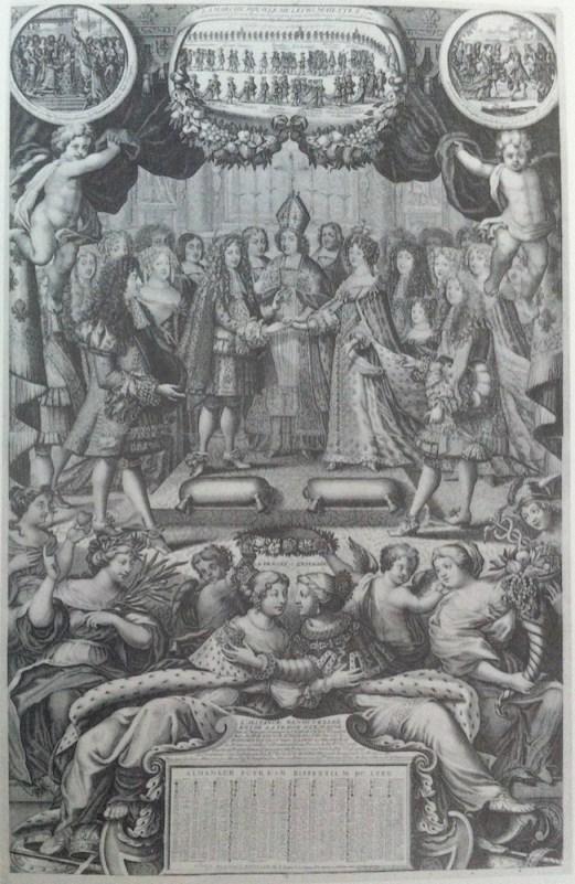 Nicolás L'Armessin: Almanaque Real 1680. Matrimonio de Carlos II y María Luisa de Orleáns.