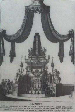Jean Berain: Mausoleo para las exequias de María Luisa de Orleáns, celebrado en Nôtre Dame de París, 1689.