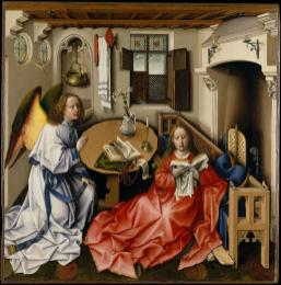 Robert Campin: La Anunciación (después de la limpieza).