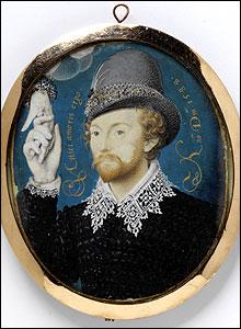 Hilliard: Joven caballero cogiendo una mano del cielo, 1588. Victoria and Albert Museum, Londres.