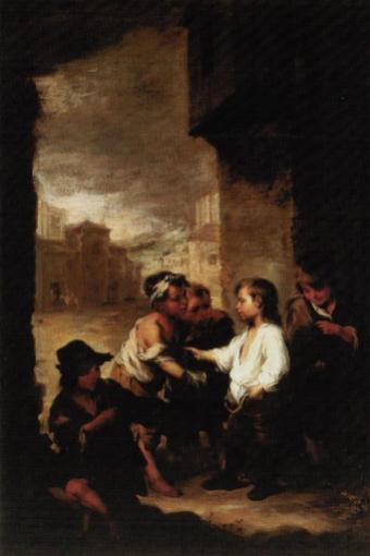 Bartolomé Esteban Murillo: Santo Tomás de Villanueva niño repartiendo su ropa. Museo de Arte de Cincinnati.