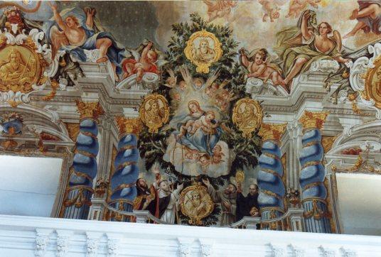 Juan Delgado: Detalle de la Virgen del Rosario, en la Capilla de la Inmaculada, Instituto San lsidro, Madrid.