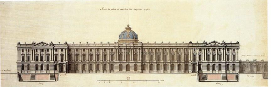 Robert de Cotte: Primer proyecto. Alzado de la fachada principal que mira al patio, 1714-1715. Biblioteca Nacional de Francia, París.