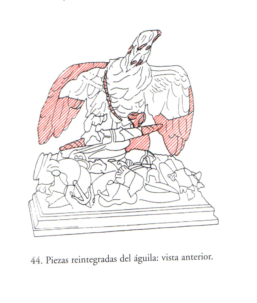 12. Esquemas de los daños y restauraciones de La Apoteosis de Claudio. Publicado por Bertolín y Gómez García (2002), pp. 65-66, figs. 44 y 45.