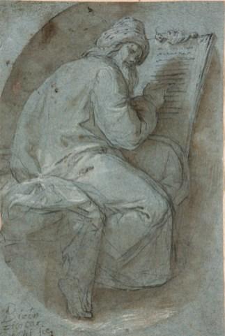 Vicente Carducho: Profeta o Padre de la Iglesia, ca. 1607-1614. Lápiz negro, aguada de tinta parda y realces de albayalde sobre papel azul verjurado, 188 x 126. Colección Particular.