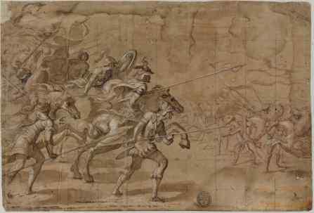 Vicente Carducho: Combate de Caballería, 1610-1612. Lápiz negro, aguada de tinta parda y realces de albayalde sobre papel verjurado, 275 x 405 mm. Madrid, Biblioteca Nacional de España, DIB/13/14/41.