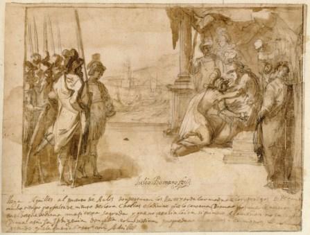 Vicente Carducho: Aquiles saluda a Agamenón en el puerto de Aulis, 1610-1612. Lápiz negro y aguada de tinta parda sobre papel verjurado, 194 x 250 mm. Madrid, Colección Abelló.