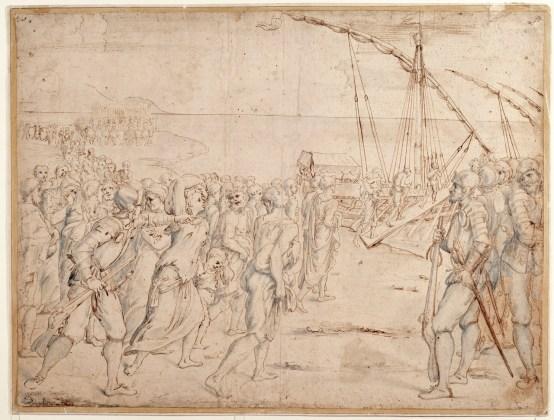 Vicente Carducho: Expulsión de los moriscos, 1627. Pluma de tinta parda y aguada azulada sobre papel verjurado, 380 x 505 mm. Madrid, Museo Nacional del Prado, D-3055.