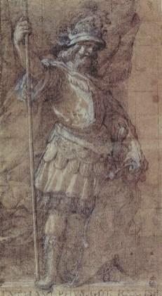 Vicente Carducho: Ataúlfo, ca. 1635. Lápiz negro, aguada de tinta parda y realces de albayalde sobre papel verjurado, 394 x 217 mm. Madrid, Real Academia de Bellas Artes de San Fernando, D-2125.