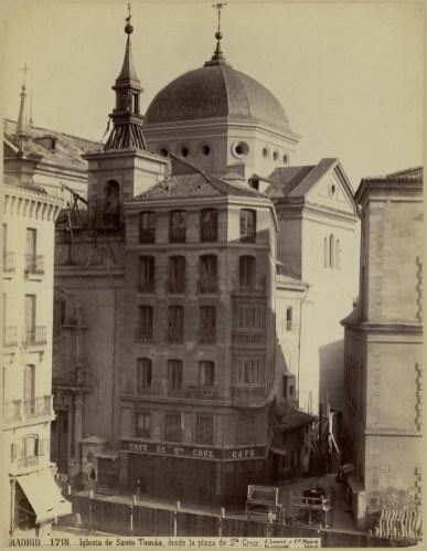 Jean Laurent: Convento de Santo Tomás desde la Plaza de Santa Cruz de Madrid.