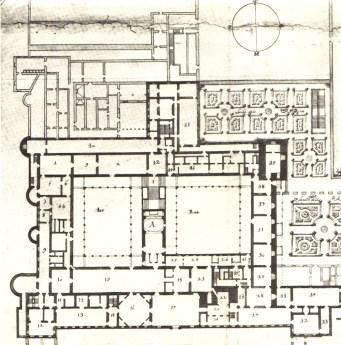 """Teodoro Ardemans: Planta principal del Alcázar de Madrid. Con el número """"23"""" aparece marcada la Pieza de las Furias."""