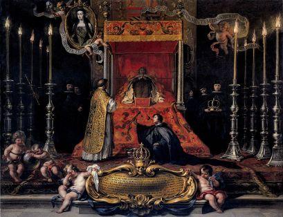 Sebastián Muñoz: Muerte de María Luisa de Orleans, primera esposa de Carlos II, 1689. New York, Hispanic Society.