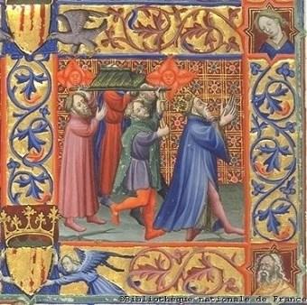 """Miniatura de un libro de Horas con la representación de la """"Danza del rey David ante el arca"""". París, Biblioteca Nacional de Francia."""