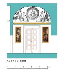 Alzado Sur del Despacho del Rey en el Palacio Real de Aranjuez.