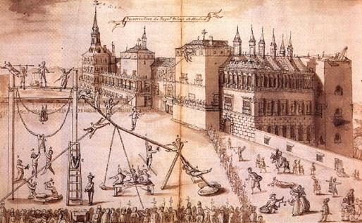 Jehan L'Hermite: Vista del Alcázar de Madrid desde el sur con volatineros, 1596, dibujo, Bibliothèque Royale, Bruselas.