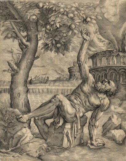 Tántalo: Giulio Sanuto (según Tiziano). Grabado, 1565. Budapest, Szépművészeti Múzeum