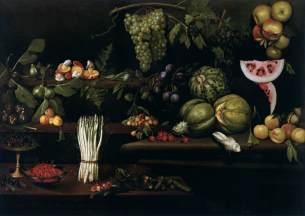 Giovanni Battista Crescenzi: Naturaleza muerta con frutas, vegetales y champiñones. ca. 1615. Galería Estense . Modena