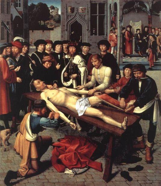 Gerard David: El despellejamiento de Sisamnes, 1498. Musée Communal, Brujas.