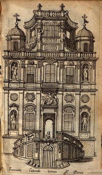 Elpidio Benedetti: Dibujo de la Guía de Elpidio Benedetti de la fachada lateral. 1676.