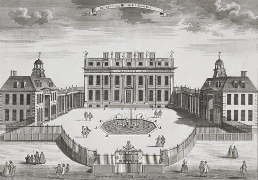 Buckingham House. ca. 1710, tal y como lo diseñó William Winde para el primer duque de Buckingham. foto: wikipedia.