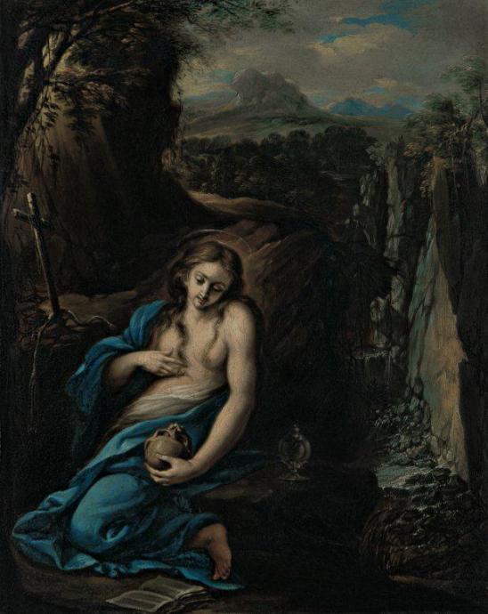 Juan Bautista Maíno. Magdalena en un paisaje. óleo/cobre. Col. Priv.