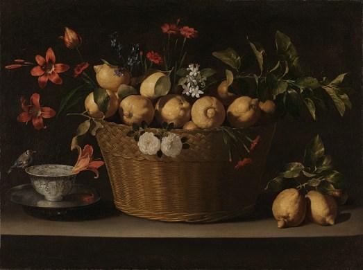 Juan de Zurbarán. Bodegón con limones en una cesta de mimbre. ca. 1643-9. National Gallery de Londres.