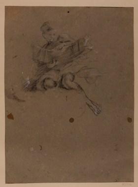 Guido Reni: Estudio de ángel sosteniendo la rueda de Santa Catalina. Madrid, RABASF, nº inv. D-1659b.
