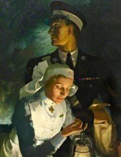 Anna Zinkeisen: Oficial y enfermara de Orden Hospitalaria de St John, 1955. Museo de la Orden de St John.