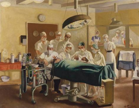 Anna Zinkeisen: Operación de cirugía a bordo del Queen Victoria, 1944. Imperial War Museum.