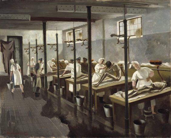 Doris Zinkeisen: Lavandería humana en Belsen, 1945.