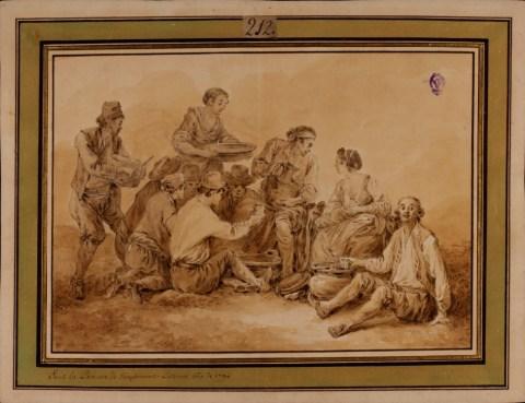 Antonia Lavauguyon, princesa de Listenois: Escena de comida de campesinos, 1794. 274x357mm. Madrid, Real Academia de Bellas Artes de San Fernando.