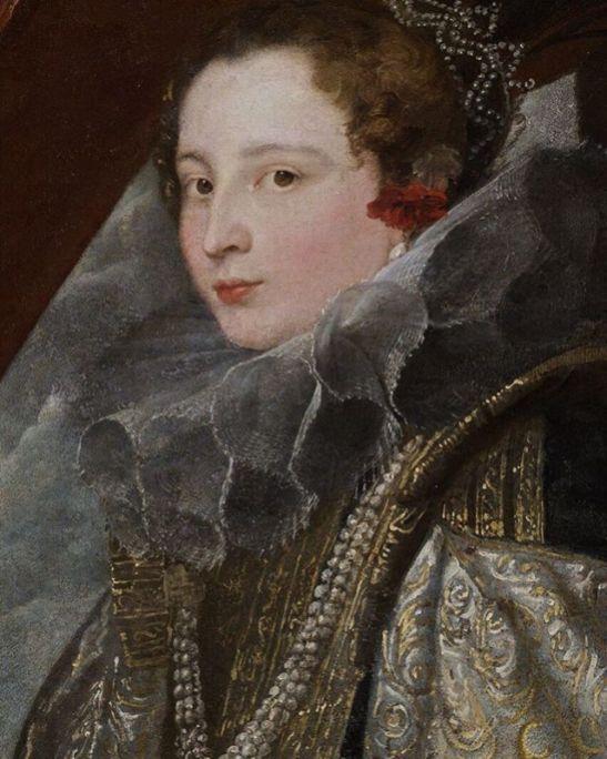Anton Van Dyck: Detalle del retrato de Caterina Balbi Durazzo, 1624. Génova, Palacio Real.
