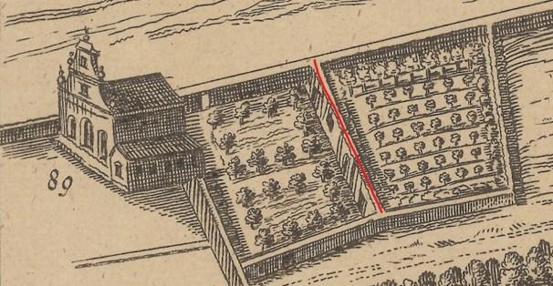 Detalle del muro de partición del jardín de la Ermita de la Magdalena en el plano de Texeira.