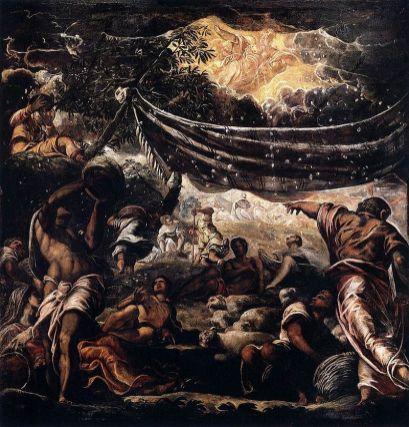 Tintoretto: Milagro del maná, 1575-1577. . Venecia, Scuola San Rocco. Foto: wikipedia.