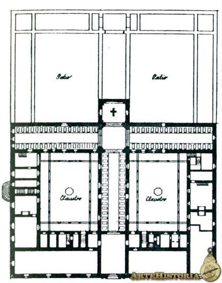 Planta del Hospital Real de Santiago de Compostela: en negro el trazado original