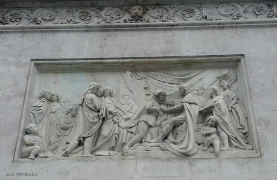 Francisco Elías: Felipe IV concediendo la Orden de Santiago a Velázquez, 1843. Imagen: Blog Miradas de Madrid http://miradasdemadrid.blogspot.com/2019/02/curiosidades-de-madrid-14-la-estatua.html