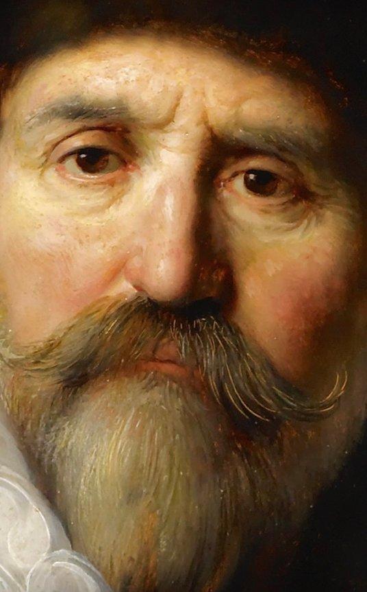 Rembrandt van Rijn: Detalle del rostro de Nicolaes Ruts,1631. Óleo sobre caoba. Nueva York, The Frick Collection.