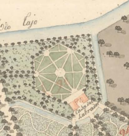 """Santiago Loup: Detalle del Hexágono en el """"Plan 1er Nord. Sitio de Aranjuez, 1810"""". Madrid, Instituto Geográfico Nacional"""