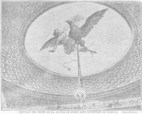 Alfonso, «Detalle del techo de la alcoba de Godoy (hoy Ministerio de Marina)», 1926. Fuente: hemerotecadigital.bne.es