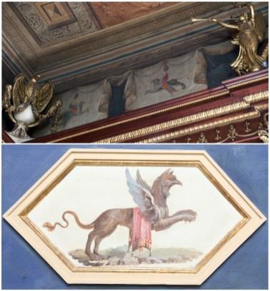 Cotejo de las pinturas del despacho de Godoy con grifos de Duque en la Real Casa del Labrador de Aranjuez. Fuentes: © Patrimonio Nacional y sevilla.abc.es