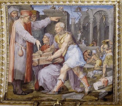 Brunelleschi y Ghiberti, Presentación ante Cosme el Viejo del modelo de la Iglesia de San Lorenzo. Florencia, Palazzo della Signoria.