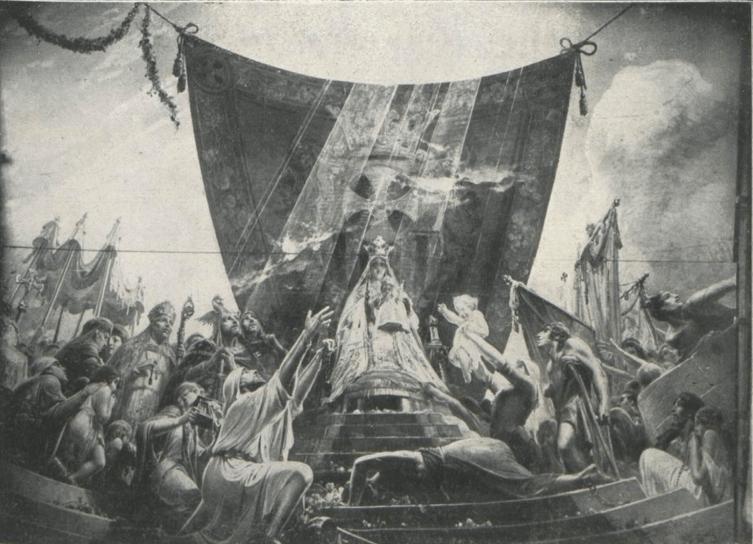 Julio Borrell, La Virgen de la Merced descendiendo ante Barcelona para inspirar la fundación de la Orden Mercedaria. Detalle de la Bóveda de la Merced en Barcelona. Fuente: La Hormiga de Oro, 18/9/1930.