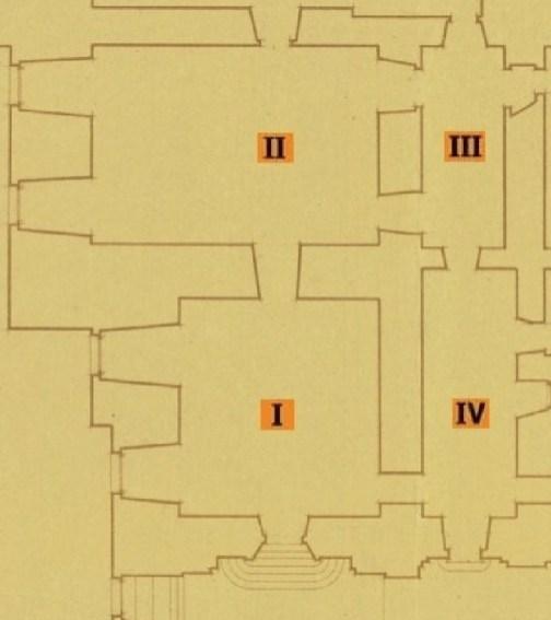Plano de las cuatro primeras salas del Cuarto de Génova. Fuente: © Patrimonio Nacional