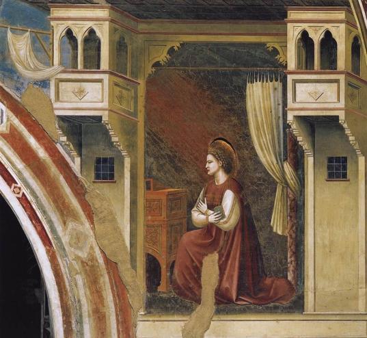 Giotto, La Virgen recibiendo el mensaje, parte de la Anuncación. Pádua, Capilla Scrovegni. Foto: Wikimedia Commons.