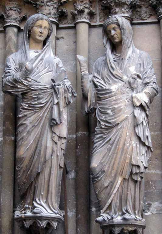 Maestro de las figuras antiguas, Visitación. Catedral de Reims (Francia). Foto: Wikimedia Commons.