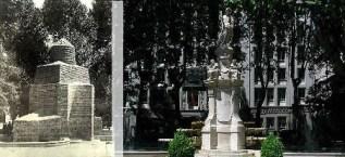 La fuente de Apolo. Archivo Balbuena, Fototeca IPCE. / La fuente de Apolo en la actualidad. Wikimedia Commons.