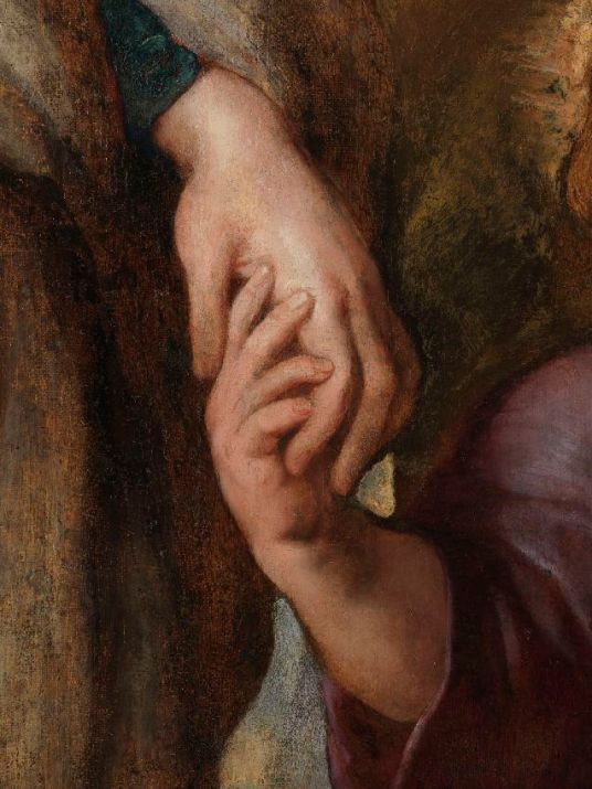 Imagen de las manos de la Virgen y el Niño Jesús después de la restauración. Foto: Kik-Irpa.