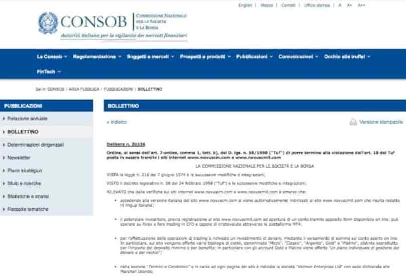 NOVUS CM Delibera 203336 CONSOB